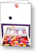 Colorful Buttons Fall Into A Sewing Box Greeting Card