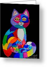 Colorful Cats And Kittens Greeting Card