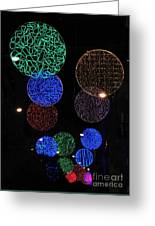 Colorful Christmas Lights Decoration Display In Madrid, Spain. Greeting Card