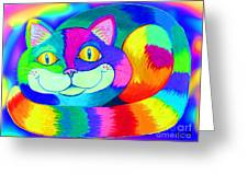 Colorful Crazy Cat Greeting Card