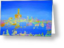 Colorful Detroit Skyline Greeting Card by Danielle Allard