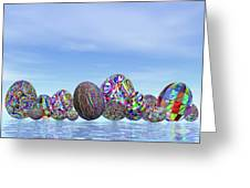 Colorful Eggs For Easter - 3d Render Greeting Card