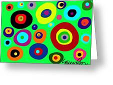 Colorful Eyes In The Green Sky Greeting Card
