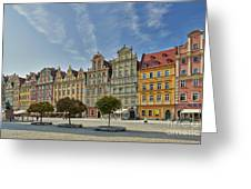 colorful facades on Market Square or Ryneck of Wroclaw Greeting Card