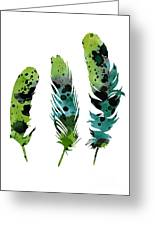 Colorful Feathers Minimalist Painting Greeting Card