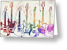 Colorful Fender Guitars Paint Splatter Greeting Card