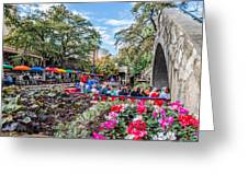 Colorful Festival Along River Walk Greeting Card