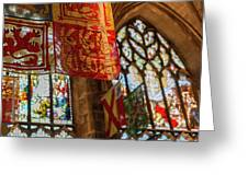 Colorful Flags And Stained Glasss Windows Greeting Card