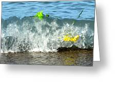 Colorful Flowers Crashing Inside A Wave Against The Shoreline Greeting Card