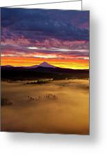 Colorful Foggy Sunrise Over Sandy River Valley Greeting Card