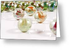Colorful Glass Marbles Close-up Views Greeting Card