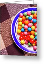 Colorful Gumballs On Plate Greeting Card