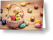 Colorful Hand Painted Easter Eggs In Basket And On Wood Greeting Card
