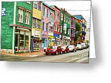 Colorful Houses In St Johns In Newfoundland Greeting Card