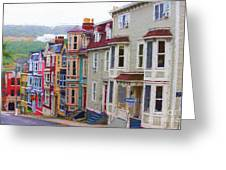 Colorful Houses In St. Johns, Nl Greeting Card