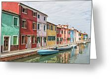 Colorful Houses On The Island Of Burano Greeting Card