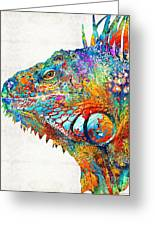 Colorful Iguana Art - One Cool Dude - Sharon Cummings Greeting Card