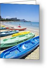 Colorful Kayaks On The Beach Greeting Card