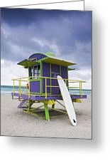 Colorful Lifeguard Station And Surfboard Greeting Card by Jeremy Woodhouse