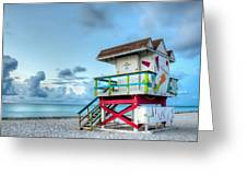 Colorful Lifeguard Tower Greeting Card