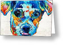 Colorful Little Dog Pop Art By Sharon Cummings Greeting Card