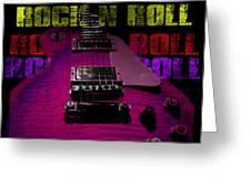Colorful Music Rock N Roll Guitar Retro Distressed T-shirt Greeting Card
