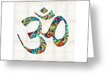 Colorful Om Symbol - Sharon Cummings Greeting Card