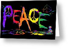 Colorful Peace Cat Greeting Card