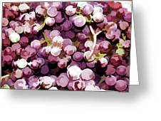 Colorful Pink Tasty Grapes In The Basket Greeting Card