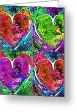 Colorful Pop Hearts Love Art By Sharon Cummings Greeting Card