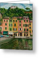Colorful Portofino Greeting Card by Charlotte Blanchard