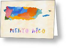 Colorful Puerto Rico Map Greeting Card