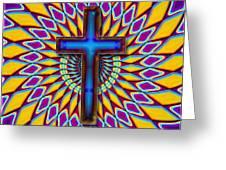 Colorful Retro Cross Greeting Card