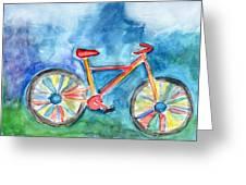 Colorful Ride- Bike Art By Linda Woods Greeting Card