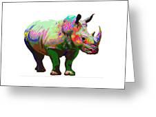 Colorful Rihno Greeting Card