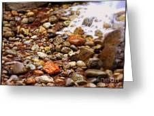 Colorful Rocks With Waterfall Greeting Card