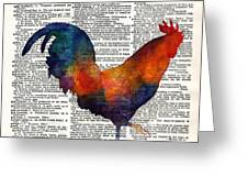 Colorful Rooster On Vintage Dictionary Greeting Card by Hailey E Herrera
