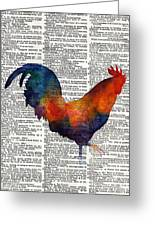 Colorful Rooster On Vintage Dictionary Greeting Card