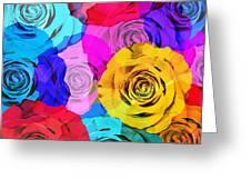 Colorful Roses Design Greeting Card