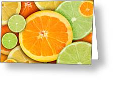 Colorful Round Citrius Fruit Background Greeting Card by Angela Waye