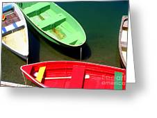 Colorful Row Boats Greeting Card