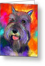 Colorful Schnauzer Dog Portrait Print Greeting Card