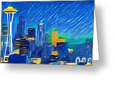 Colorful Seattle Skyline Panorama Greeting Card