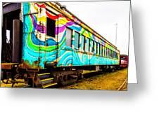 Colorful Skunk Train Passenger Car Greeting Card