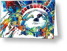 Colorful Statue Of Liberty - Sharon Cummings Greeting Card