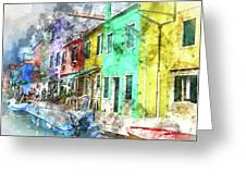 Colorful Street In Burano Near Venice Italy Greeting Card