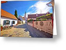 Colorful Street Of Baroque Town Varazdin View Greeting Card