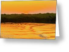 Colorful Sunrise Over Island In Galapagos Greeting Card