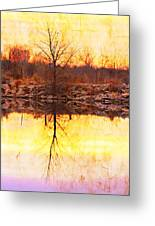 Colorful Sunrise Textured Reflections Greeting Card