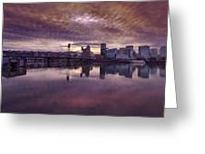 Colorful Sunset Over Portland Oregon Greeting Card